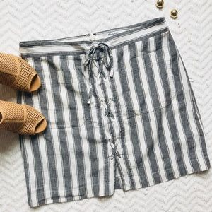 Madewell Lace-up Linen Striped Skirt